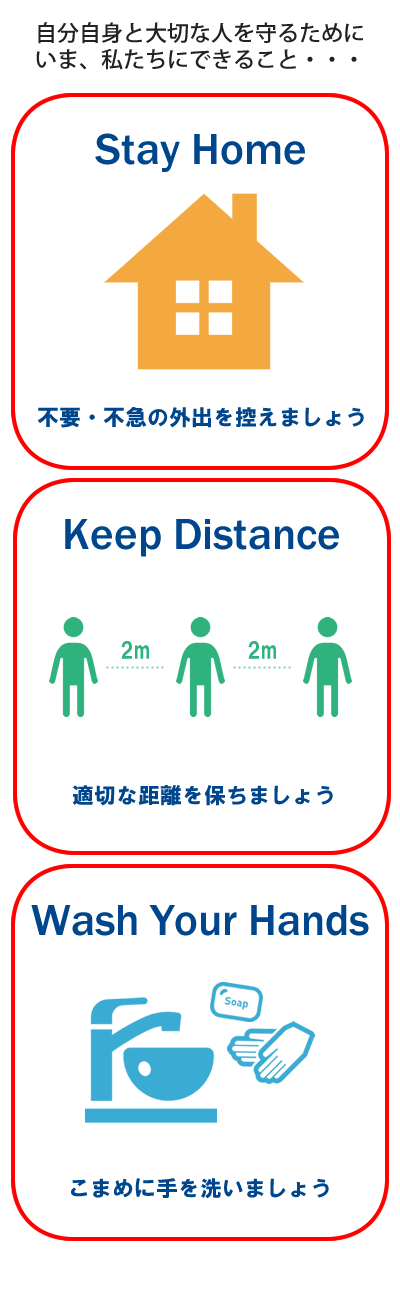 いま、私たちにできること「Stay Home」「Keep Distance」「Wash Your Hands」